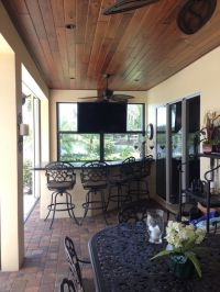 Traditional Porch with exterior brick floors, Stained ...