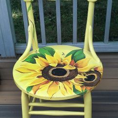 Hand Painted Wooden Chairs Bamboo Dining Gold Coast Sunflower Chair By Cherylschwierdesign