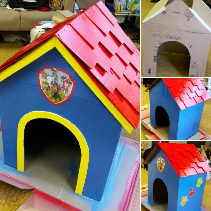 Turning A Cardboard Box Into A Paw Patrol Dog House For My