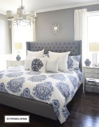 Grey Blue Orange Bedroom