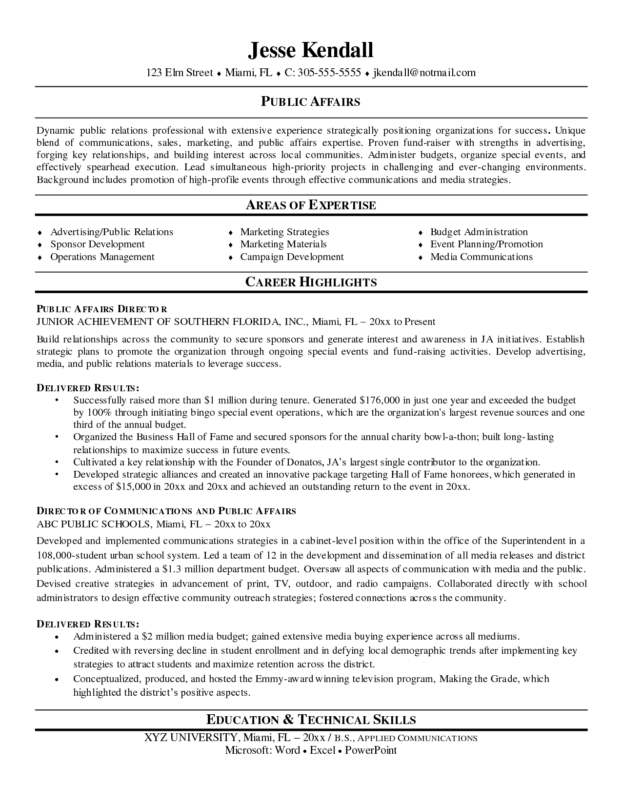 Public Affairs Director Resume Sample Business Pinterest