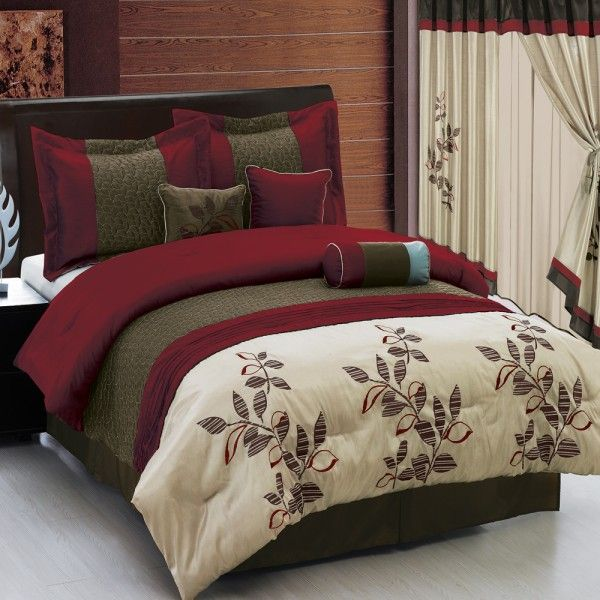 Pasadena Burgundy 11 Piece Bed In A Bag Matching Curtains Also