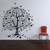 Gorgeous Apple and Birds Tree Vinyl Wall Decal Sticker ...