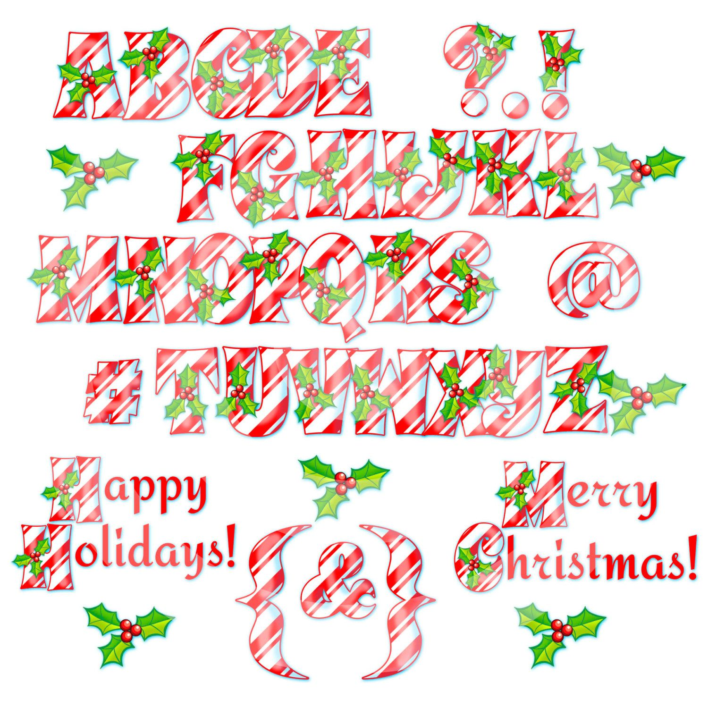 Digital Clipart Christmas Alphabet Letters Instant