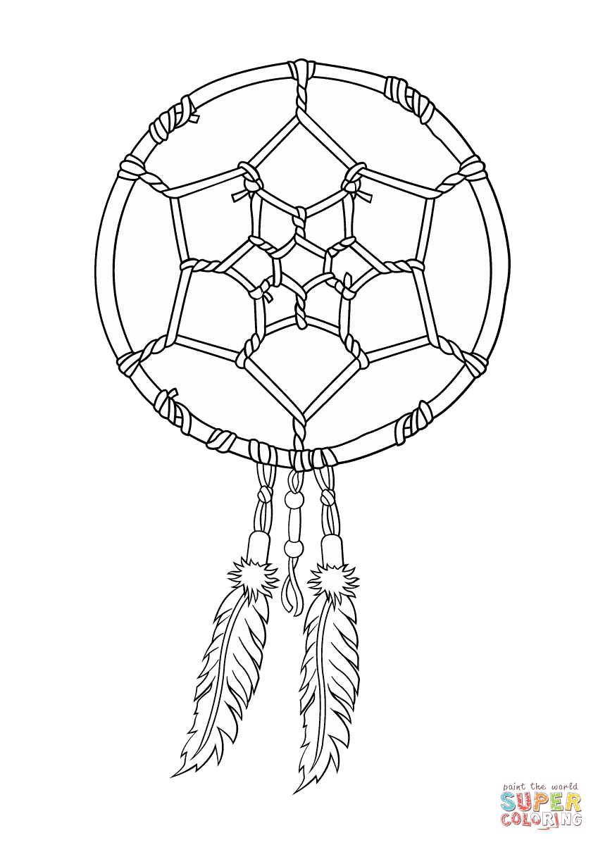 Dream catcher coloring pages to download and print for