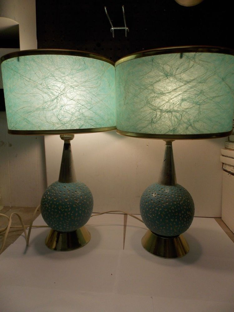 Mid Century Aqua Retro Table Lamps w/ Green Spun