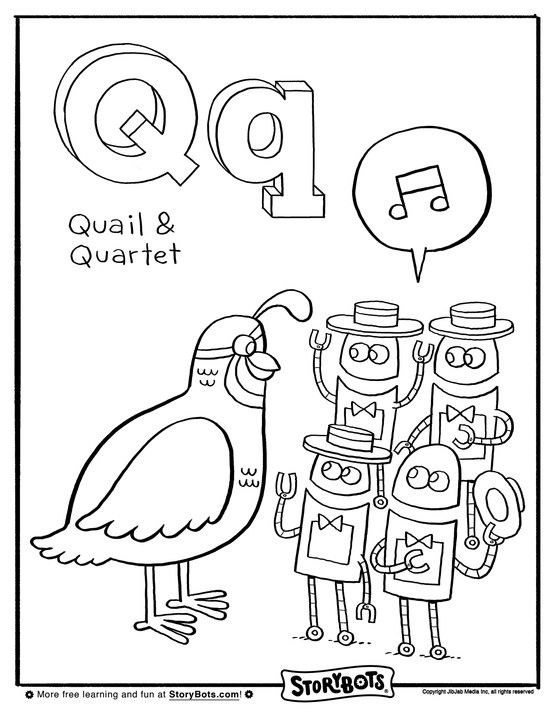 This quail and quartet of StoryBots need coloring, quick