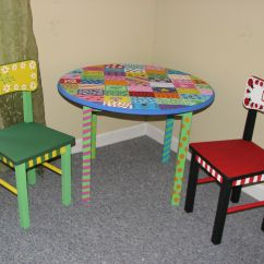 Painted Table And Chairs Reupholster Dining Room Chair Seat Hand Children 39s Acrylic Paint With Sealer On