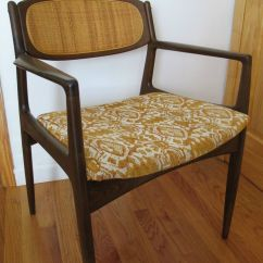Mid Century Modern Cane Barrel Chairs Wine Table And Danish Back Side Chair Selig