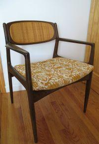 Danish modern cane back side chair selig mid century ...