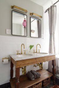 custom marble double sink w/ repurposed hardwood base ...