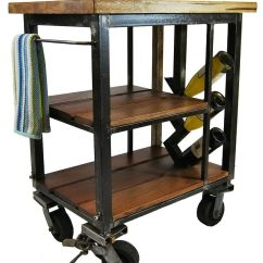 Kitchen Carts On Wheels Best Laminate Flooring For Napa Cart Made From Reclaimed Butcher Block And
