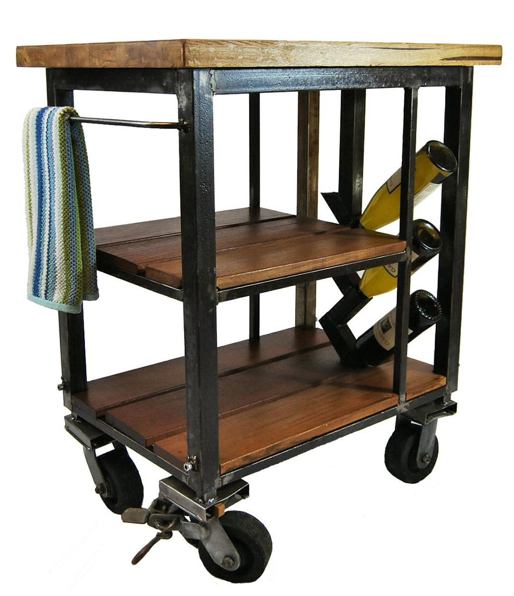 kitchen carts on wheels mid century modern chairs napa cart made from reclaimed butcher block and