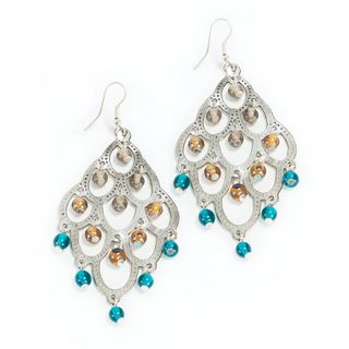 Silver And Teal Chandelier Earrings India