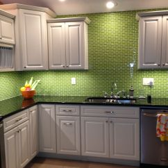 Green Kitchen Backsplash Cabico Cabinets Lime Glass Subway Tile