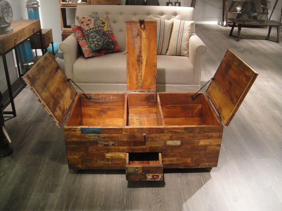 Vintage Chest Coffee Table Wood coffee table chest