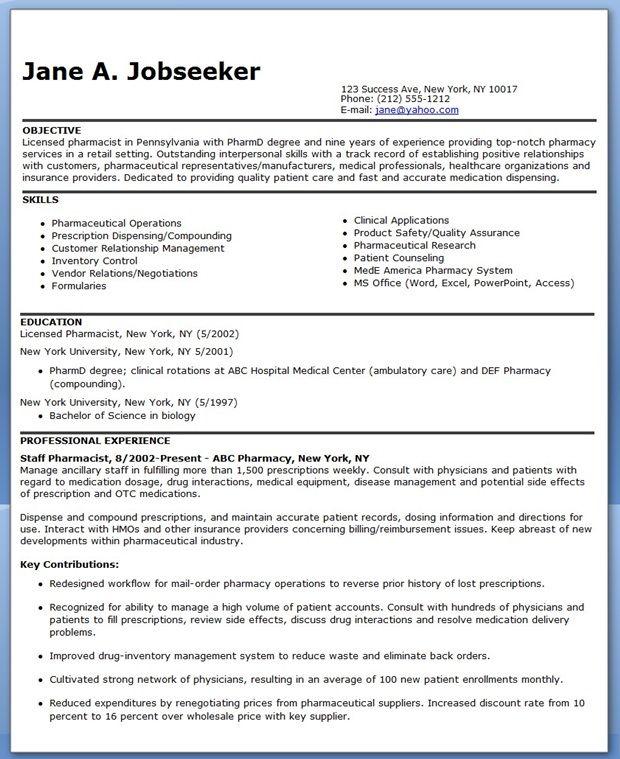 Pharmacist Resume Sample Creative Resume Design Templates Word