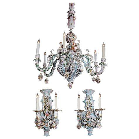 Capodimonte Italian Porcelain Chandelier And Sconces
