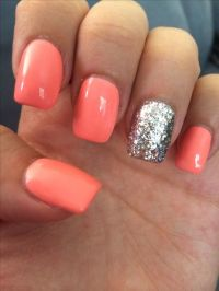 Coral and silver sparkle square tip acrylic nails | nails ...