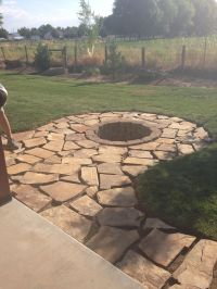 Flag stone pad and stone fire pit | Outdoor Decor ...