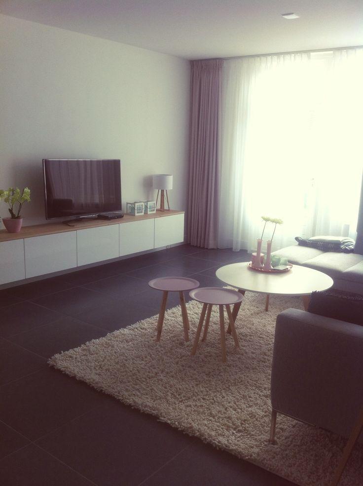 Tv meubel ikea met eiken plank  woonkamer  Pinterest
