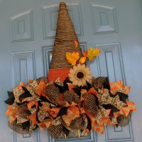 Rustic Deco Mesh Witch's Hat with Ribbon Brim and Burlap ...