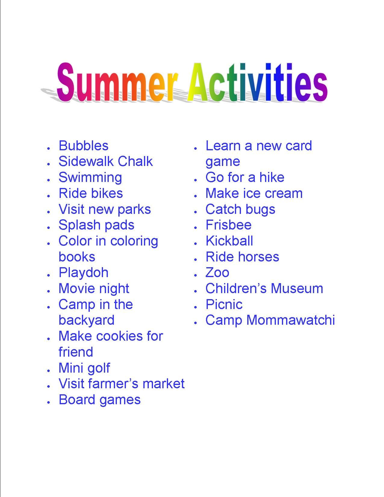 25 Fun Things To Do In The Summer With Your Kids Print It
