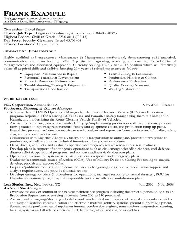 Example Of A Federal Resume Examples of Resumes