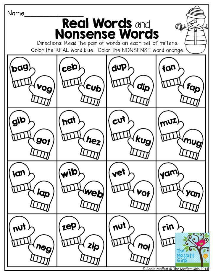 Real Words and Nonsense Words- Great practice for decoding