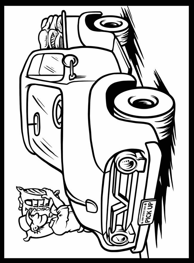 Cool Cars and Trucks Stained Glass Jr. Coloring Book Dover