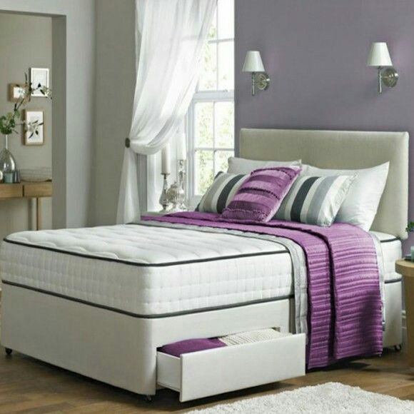 279 Henry Divan Double Bed With Memory Foam Mattress 4 Drawers And Grey Suede