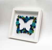 Unique Framed Wall Art Quilling Quilled Butterfly Blue ...