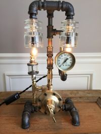 Steampunk Lamp: Vintage Oiler, Brass Pressure Gauge and