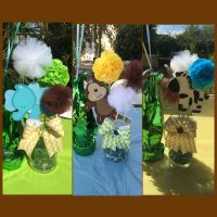 Safari centerpieces. Mason jars. Jungle theme. Baby shower
