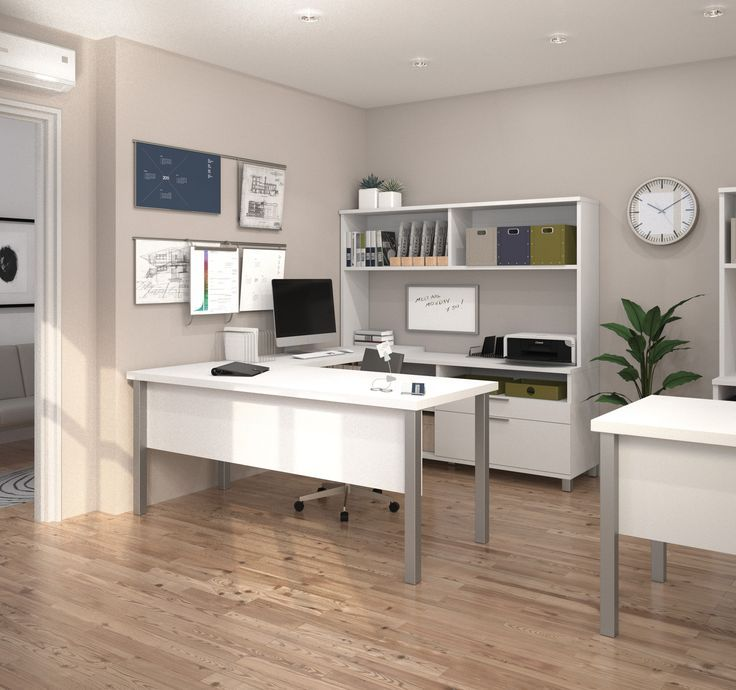 Modern White Ushaped Office Desk with Hutch  Design