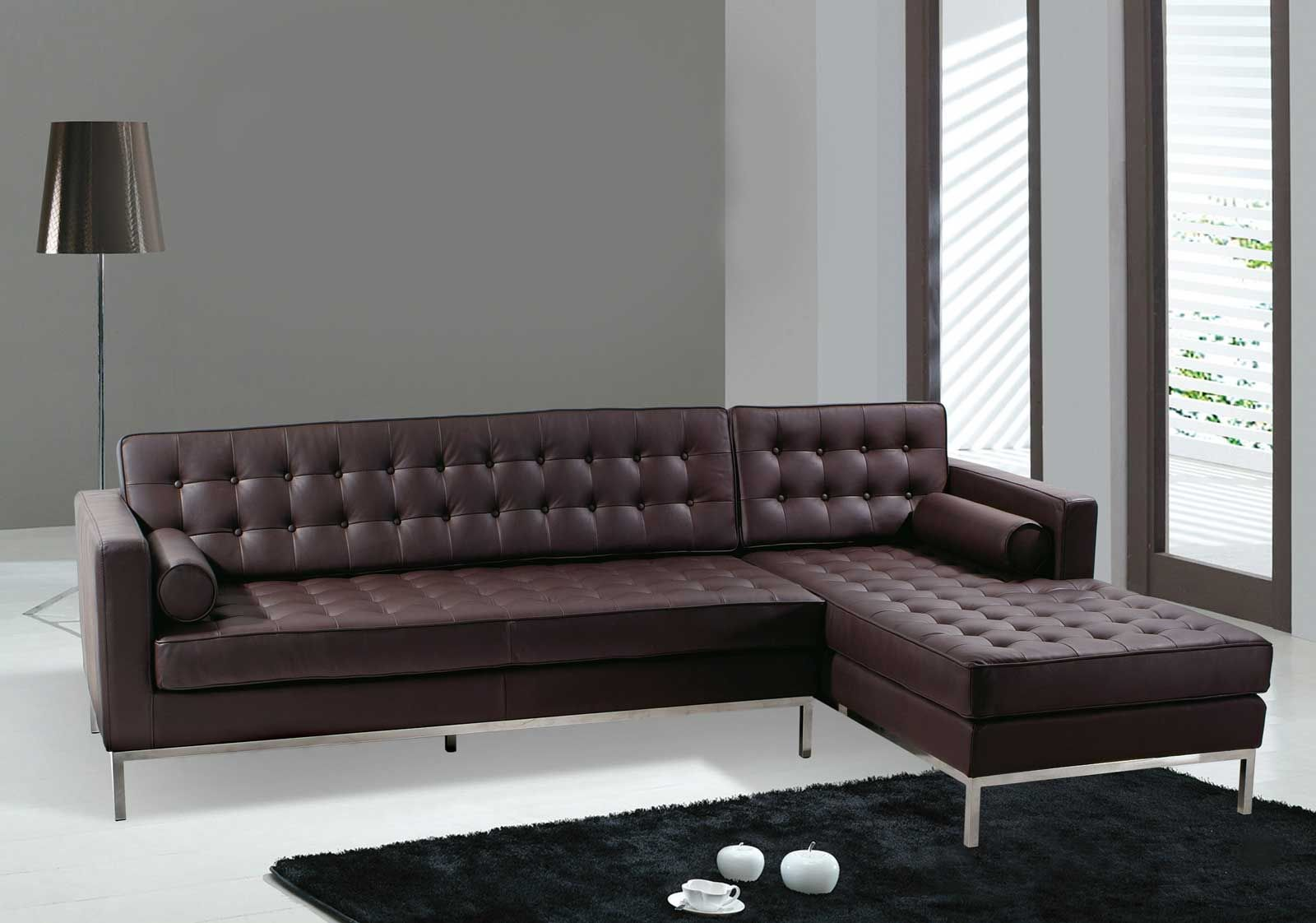 Modern Dark Brown Sectional L Shaped Sofa Design Ideas for