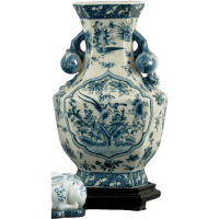 Hex Vase Blue Willow - Bird | ~ The Well Appointed Home ...