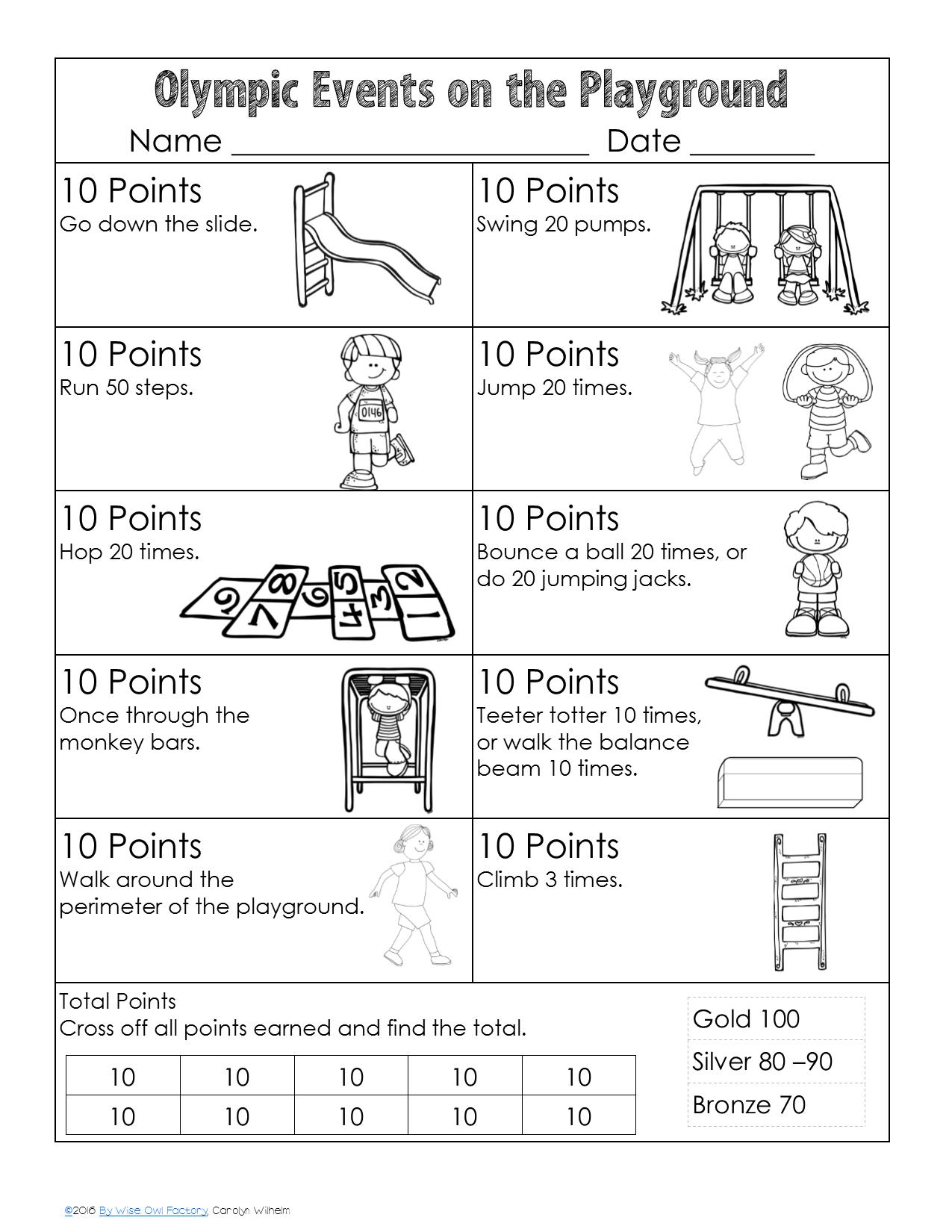 Olympic Vocabulary And Playground Activity