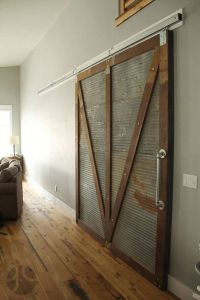 Sliding barn door home decor reclaimed wood corrugated