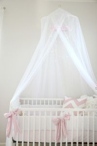 Pink, white, grey nursery. Crib canopy little baby bateman ...