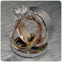 Verragio Bridal Trio with engagement ring and wedding ...