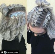 glitter roots and braid hair-nails-makeup-skin