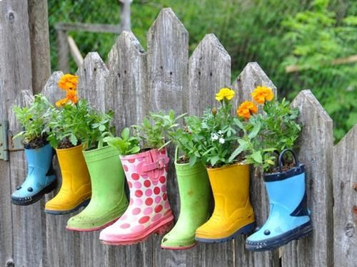 Flower Garden Ideas Love This And Have Several Boots The Kids
