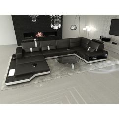 Los Angeles Sofas Leather Sectional Sofa With Sleeper Design Modern Black U Shaped