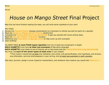 House On Mango Street Final Project Writing Vignettes