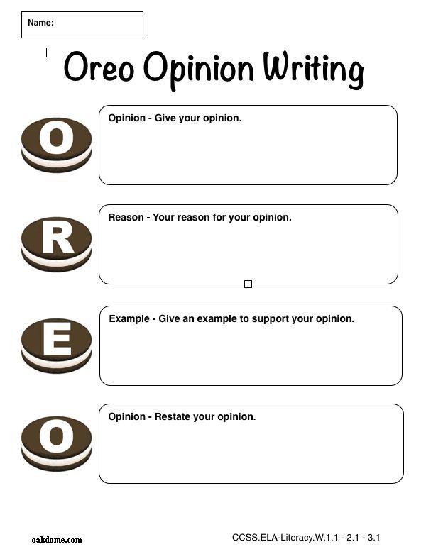 iPad Graphic Organizer OREO Opinion Writing Plain