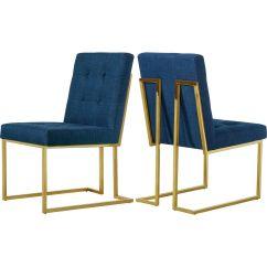 Steel Chair Gold John Deere Office Meridian Furniture Victoria Navy Tufted Linen Dining