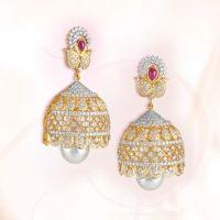 Diamond Jhumka Model from GRT Jewellers | Pearl Earrings ...