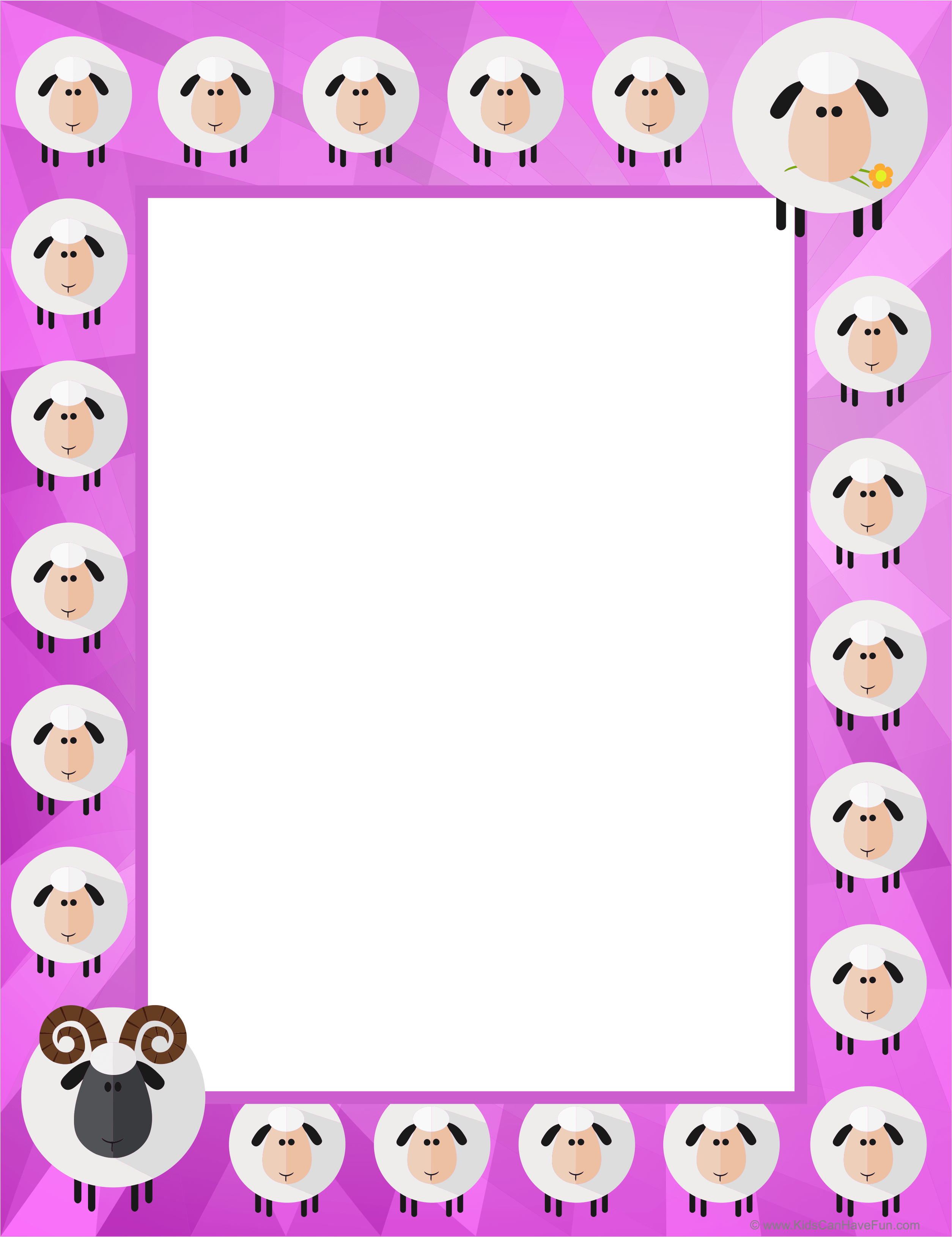 Easter Sheep Writing Pink Bordered Paper