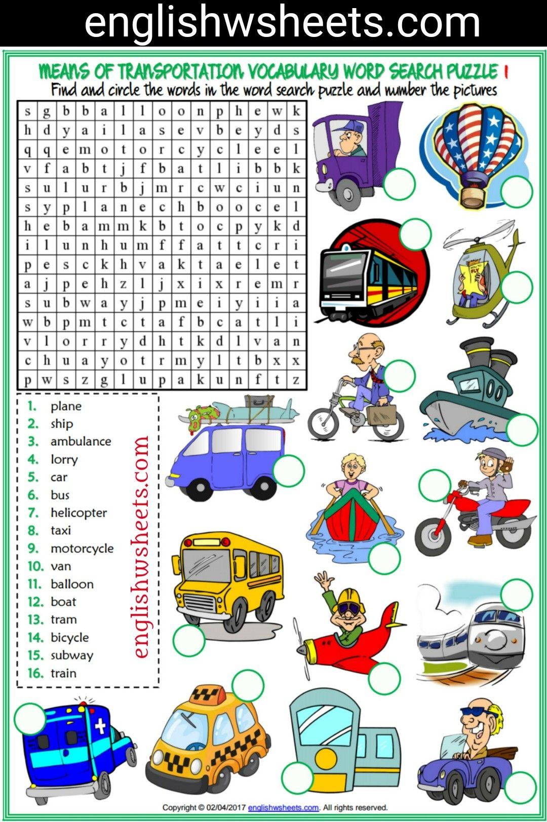 Means Of Transportation Esl Printable Word Search Puzzle Worksheets For Kids 2 Sets Means